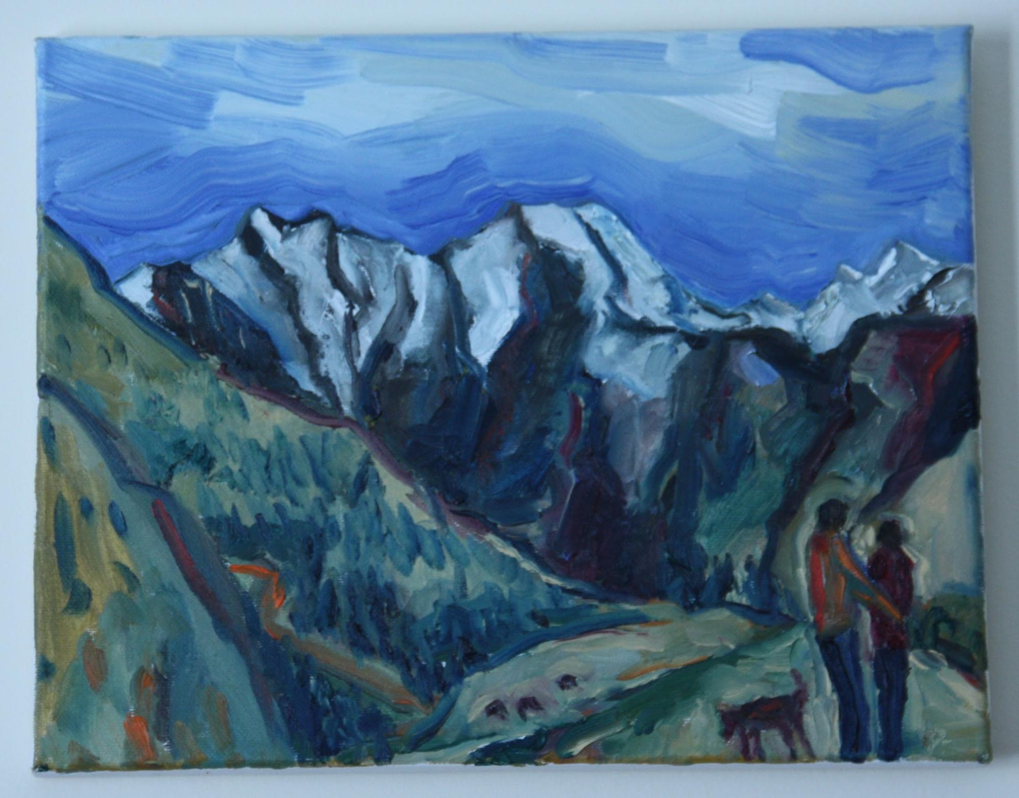 Painting of mountains with blue tint