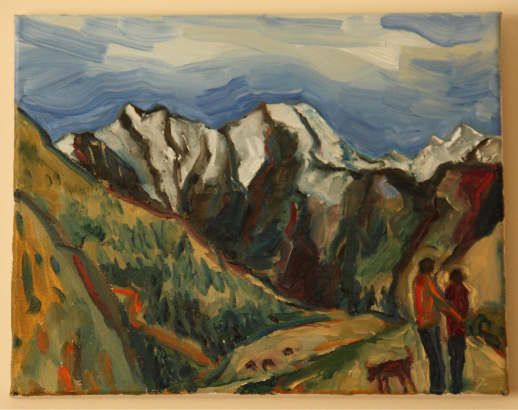 Painting of mountains with yellow/orange tint