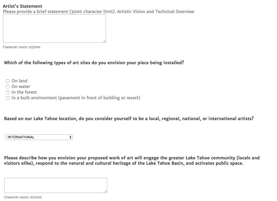 Screenshot of CAFE application form.