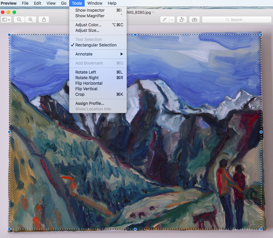 Screenshot of painting in Preview with menu displaying crop