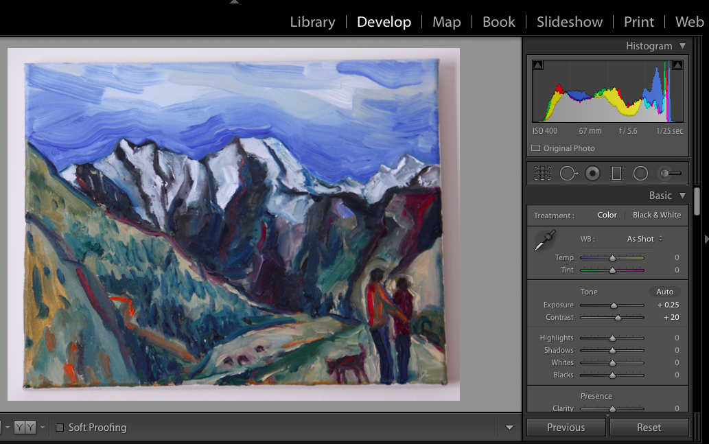 Screenshot of Photo of Paining opened in Lightroom with color toggles to the right.