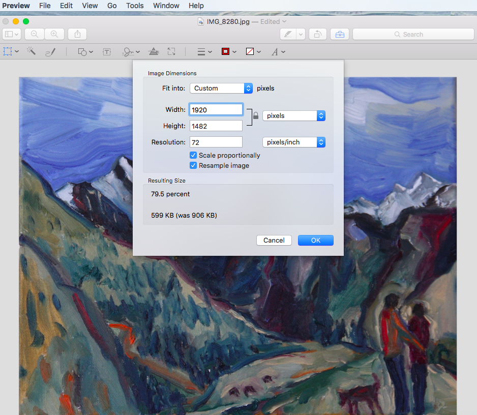 Screenshot of Photo of Painting open in Preview with size settings window opened.