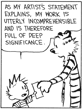 Calvin and Hobbes cartoon. The cat is taking a paper from the boy and text reads