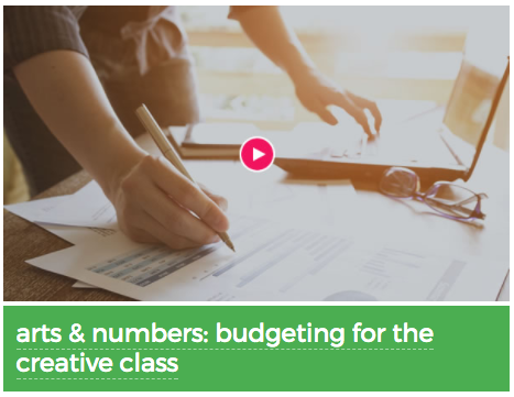 Screenshot of the Arts & Numbers: Budgeting for the Creative Class video with a person writing on paper and working on a laptop.