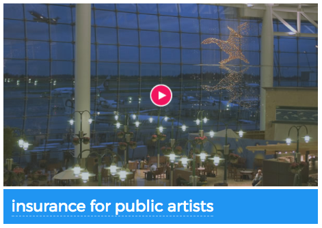 Screenshot of Insurance for Public Artists Webinar link with city of interior building with small lights