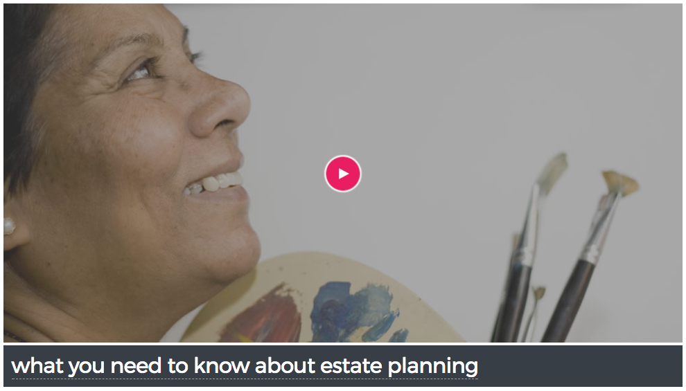 Screenshot of What You Need to Know About Estate Planning Webinar with an image of a smiling woman looking up with paint brushes in her hand