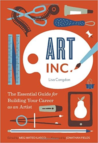 Cover of Art Inc with red-orange background with art utensils like pens, scissors, ruler icons on top