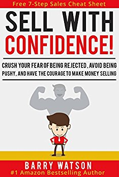 Cover of Sell with Confidence with a small boy cartoon in the front and a shadow of a muscle man in the back