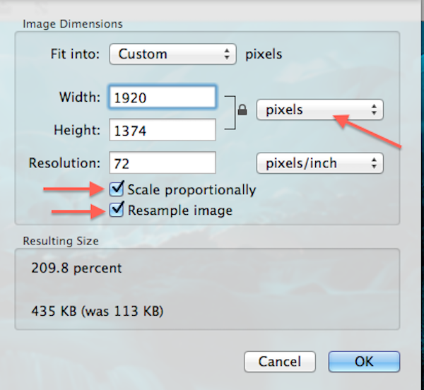 Screenshot of Preview Adjust Size page with red arrows pointing to Pixel drop-down and Scale Proportionally & Resample Image checkboxes.