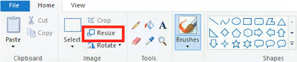 Screenshot of the Paint application elements with a red rectangle around resize.