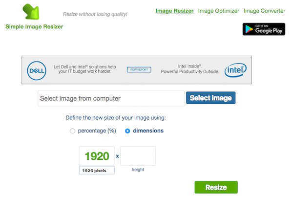 Screenshot of the upload and easy resize process on Image Resizer