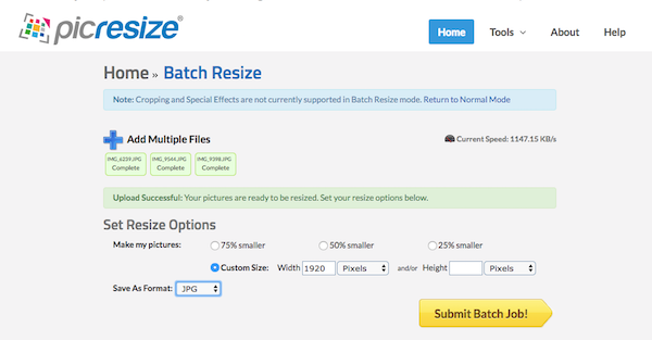 Screenshot of Pic Resize where images can be uploaded