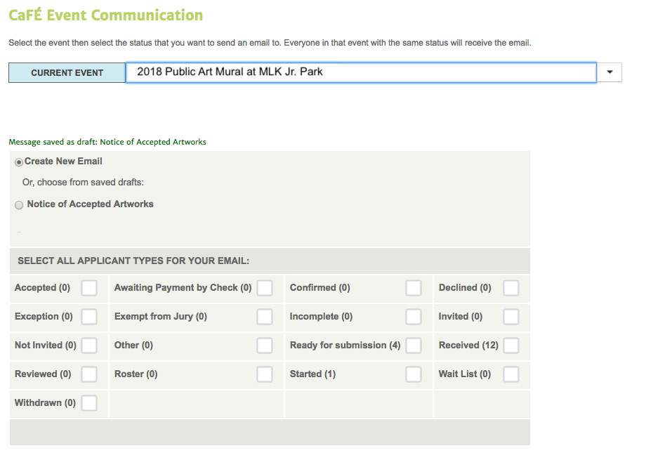 Image of the CaFE Emailer Communication Tool