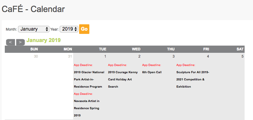 Image of the CaFE Calendar of Calls with deadlines.