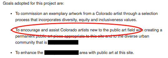 "Screenshot of prospectus with a red circle around, ""To encourage and assist Colorado artists new to the public art field"""