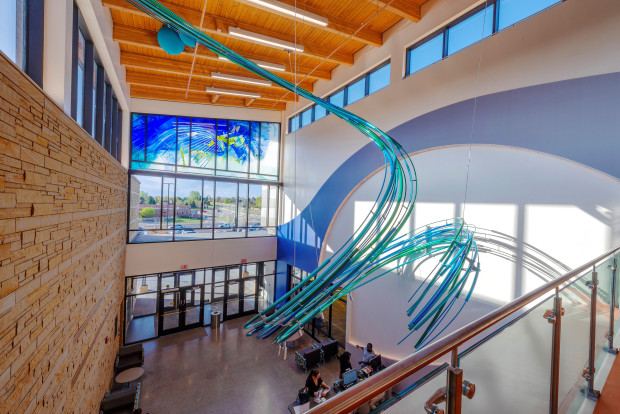 Public Art of glass sculpture in the Central Recreation Center, Aurora, CO