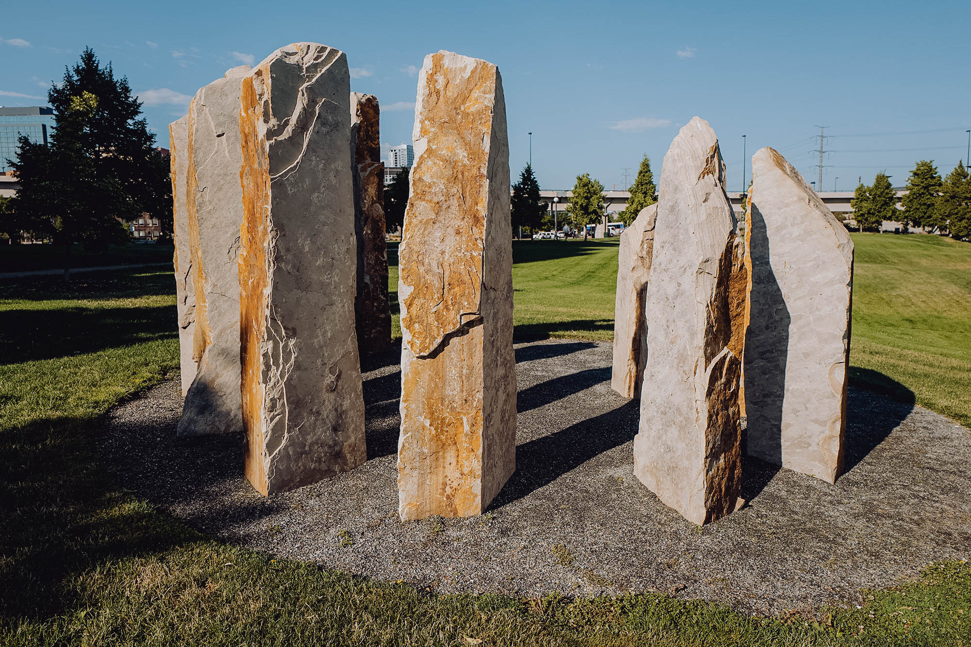 Stones placed in a circle in a park in Denver, CO