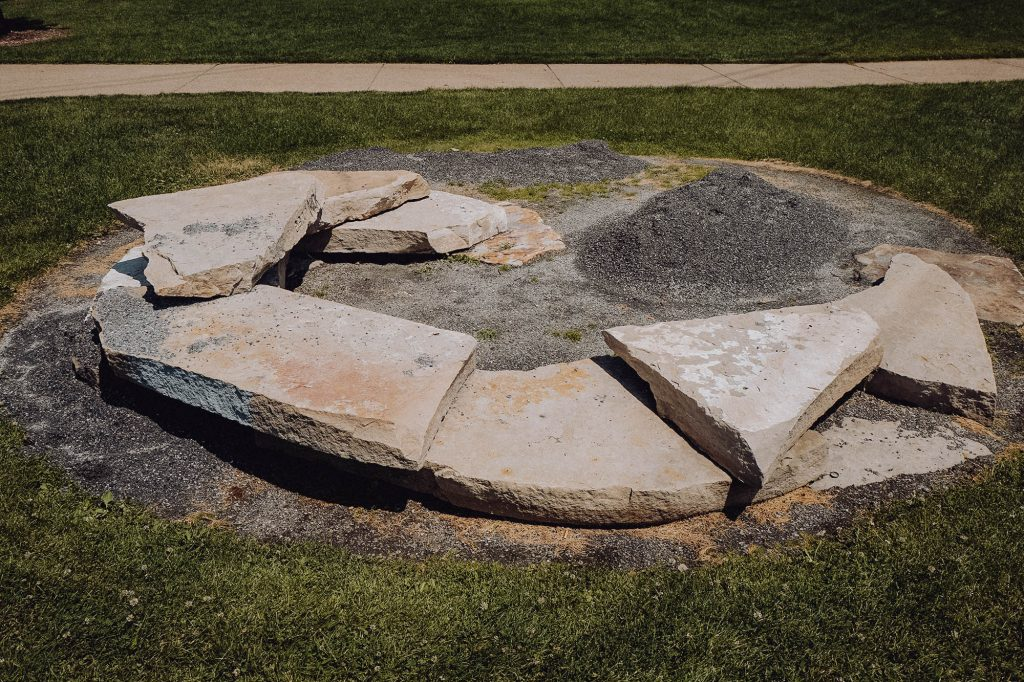 Flat stones placed in a circle at a park in Denver, CO
