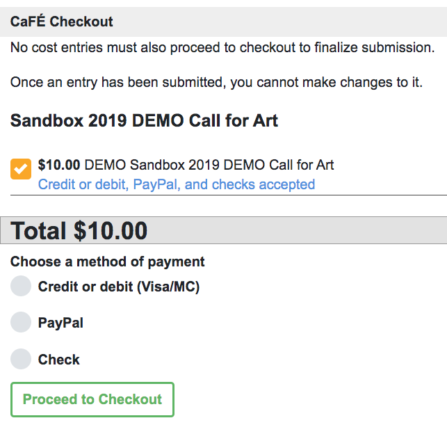 screenshot of checkout process on cafe