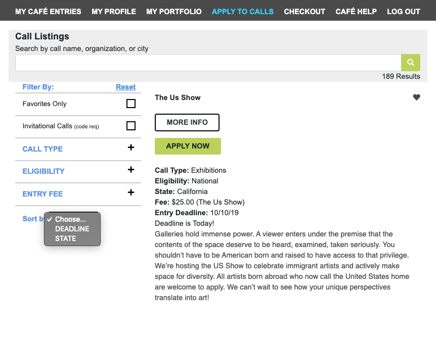 Screenshot of the call listing page highlighting the search