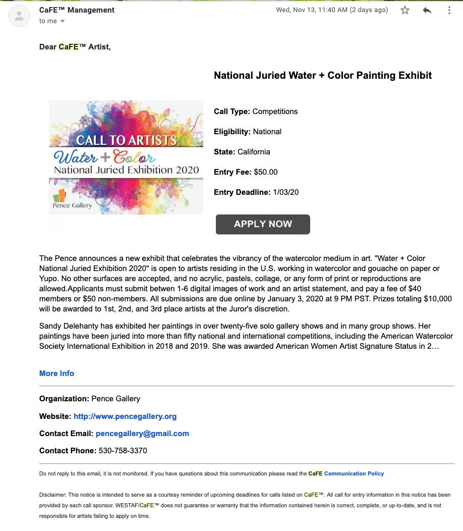 Screenshot of the promotional email that is sent out to artists
