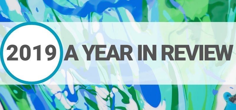Text over blue and green background that says 2019 a year in review