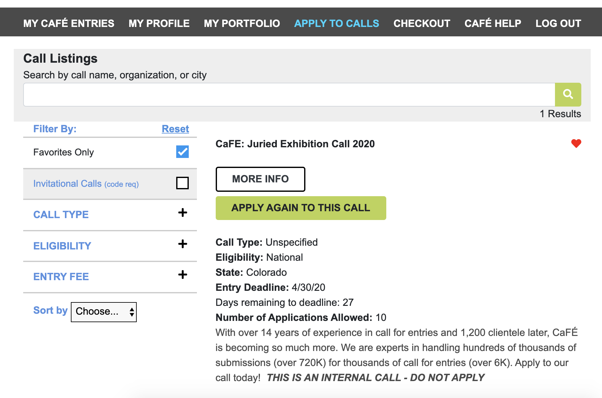 Screenshot from CaFE listings page with apply again to this call button