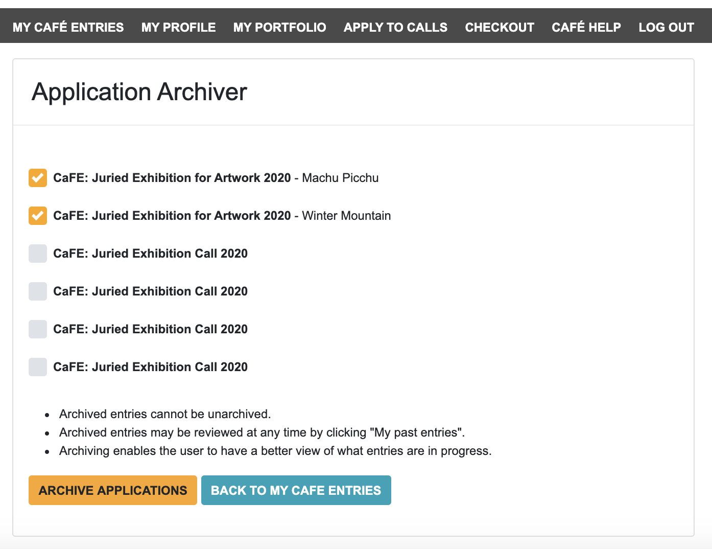 Screenshot of CaFE's application archiver showcasing how easy it is to archive mass applications.