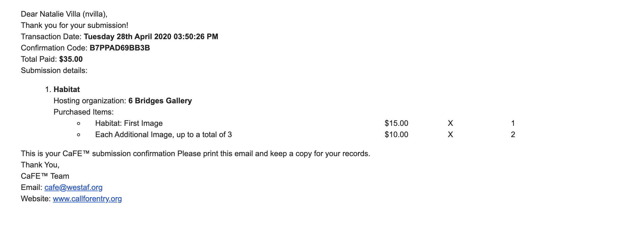 screenshot of the receipt sent to artists when they complete a payment - displays the organization name, call name, quantity and price