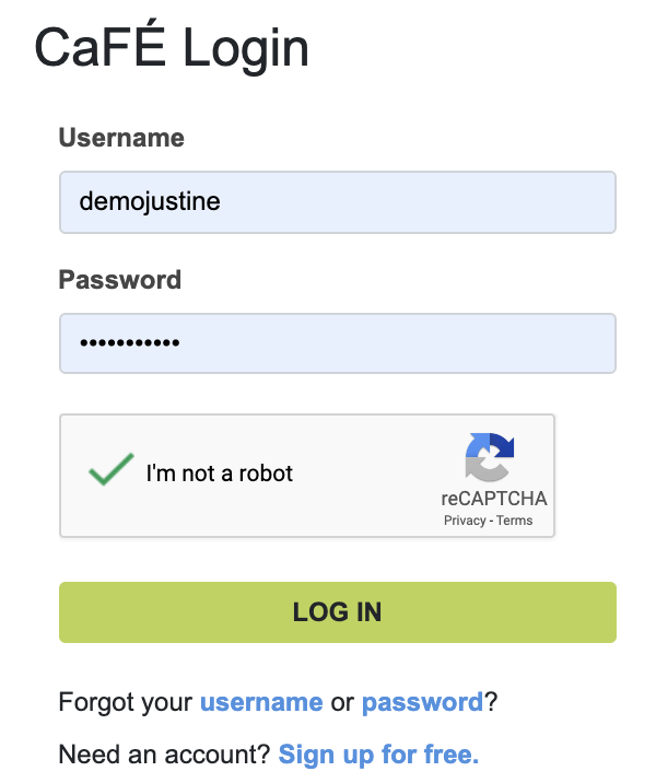 Screenshot of the CaFE log in with the captcha enabled allowing users to log in.