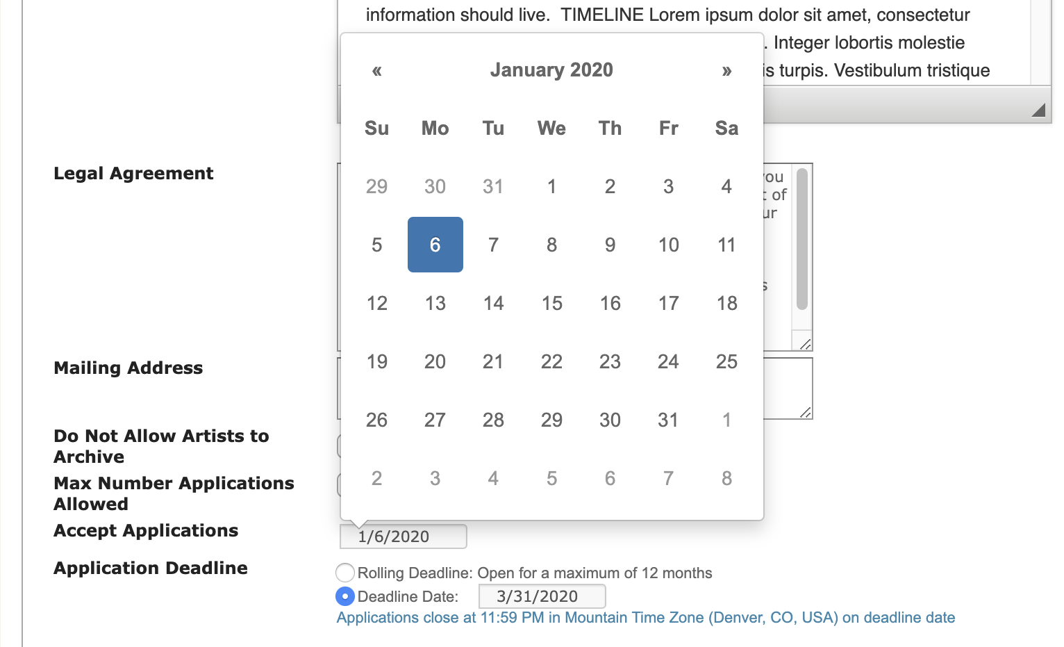 Screenshot of the date picker on CAFE