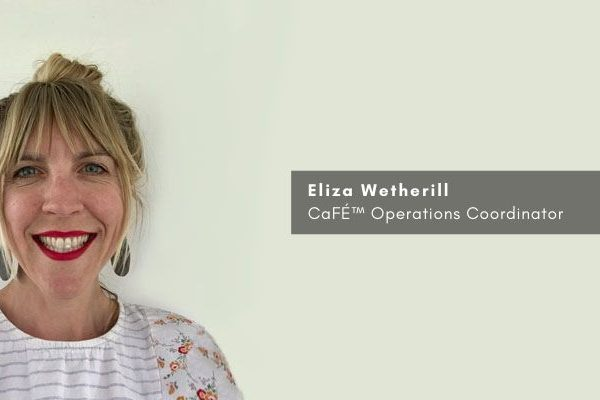 Image of Eliza standing on white background with text that says Eliza Wetherill CaFE Operations Coordinator
