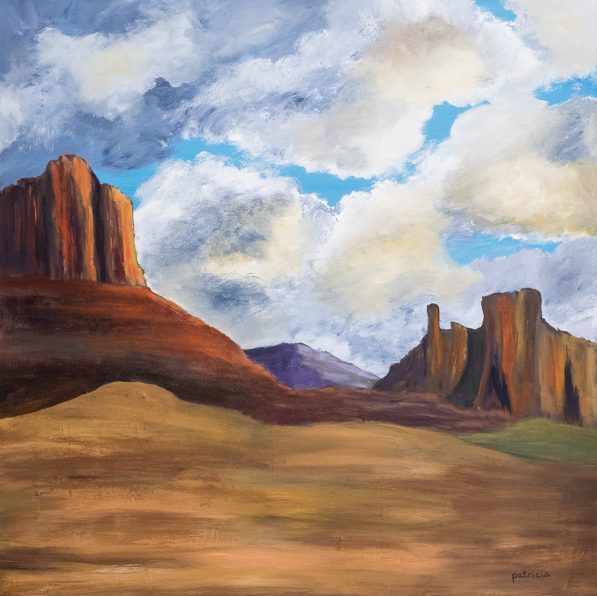 An acrylic painting of the desert with a mountain in the middle of the painting.