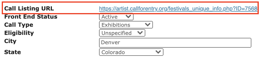 Screenshot from CaFE with the URL where you can direct your artists highlighted in red.