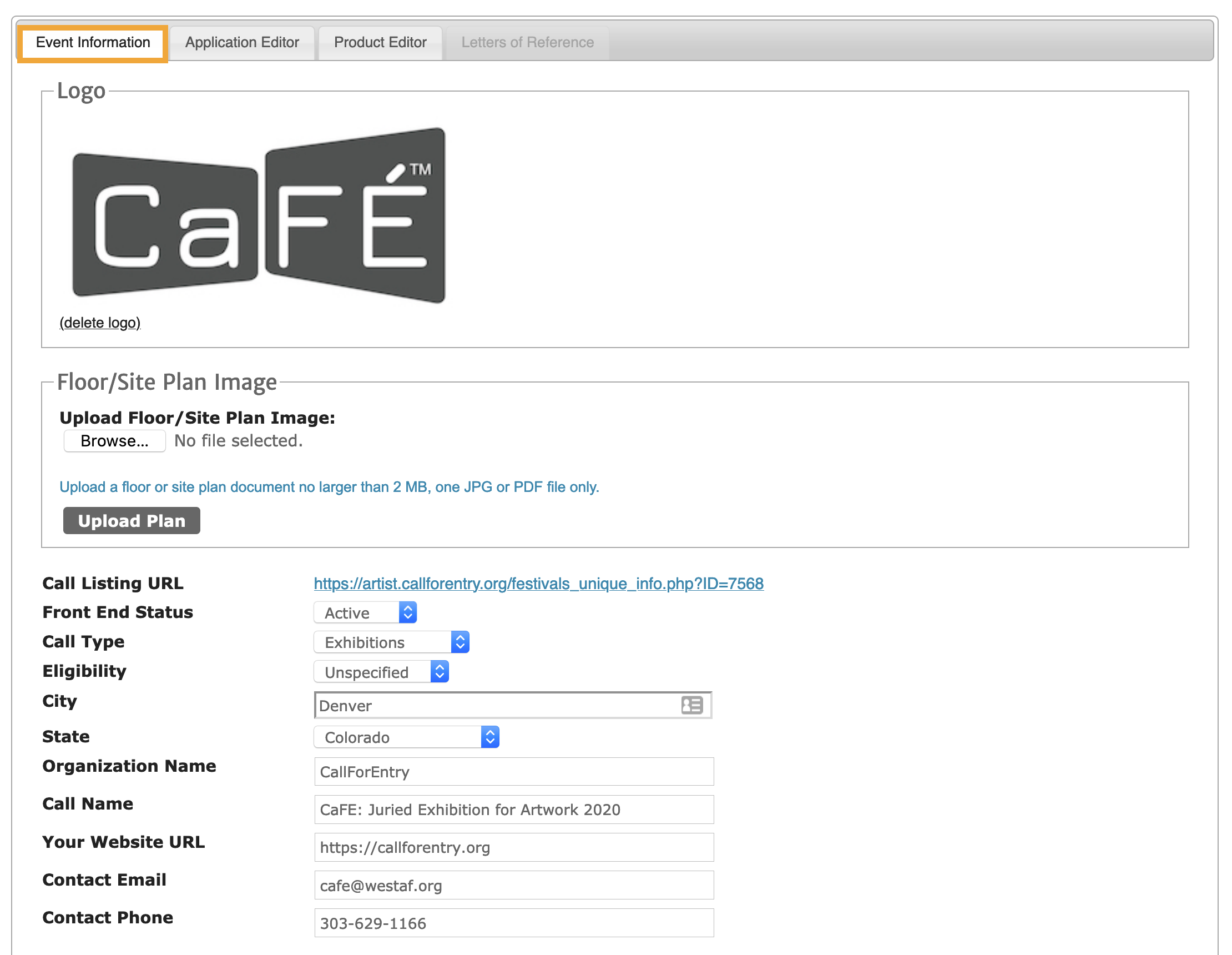 Screenshot of the Call Editor on the Event Information page highlighting the main contact fields, logo area and site plan.