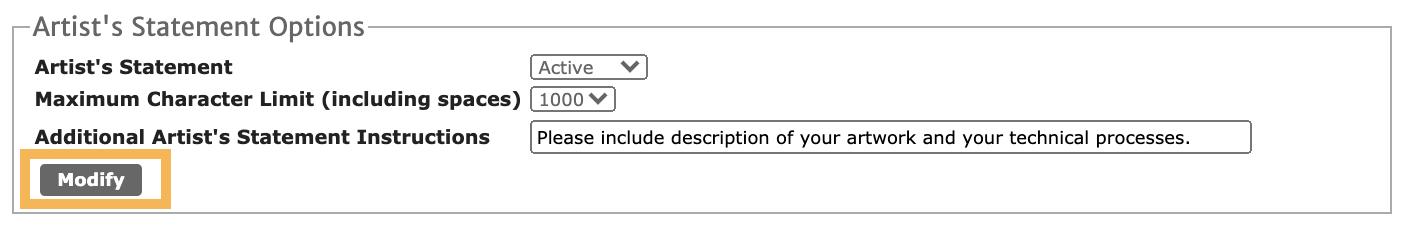 Screenshot of the Artist Statement option highlighting the Modify button.