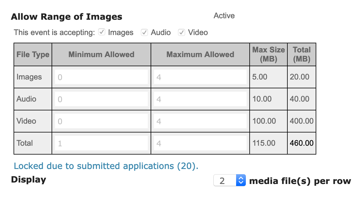 Screenshot of the media requirements. It's a gray table with the Minimum column and a Maximum column to note how many work samples can be submitted.