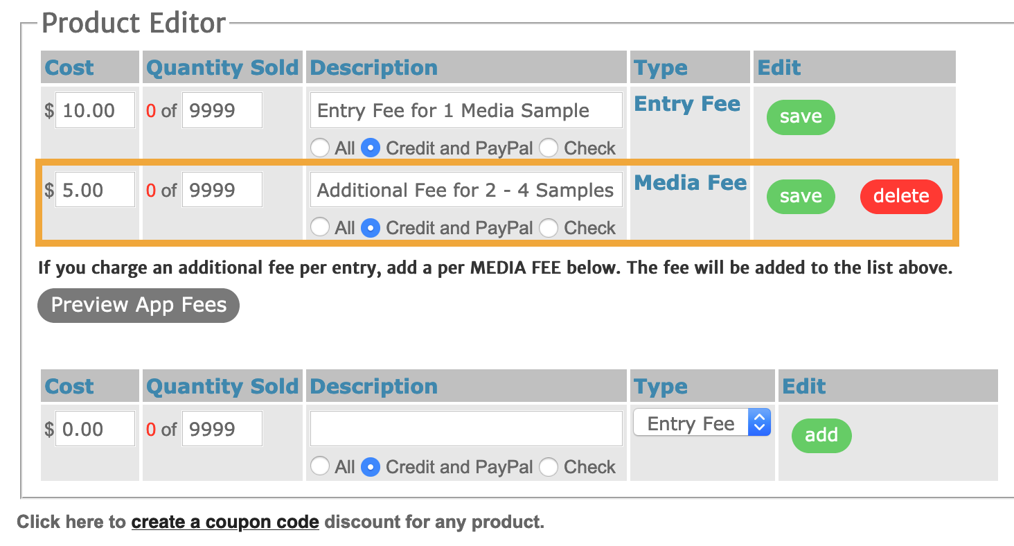 Screenshot of the product editor tab with a highlight around the media fee.