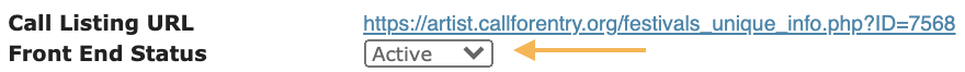 Screenshot of the Front End Status which will publish the call on CaFE.