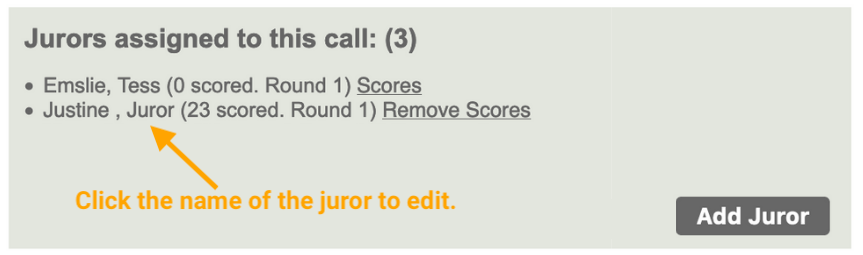 Screenshot that displays a list of jurors assigned to the call with the Add Juror button highlighted.