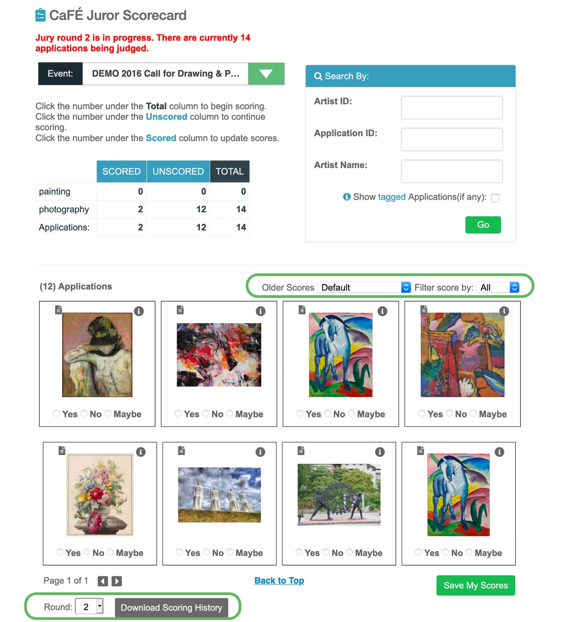 Screenshot of the Gallery scorecard page with the sorting options circled. A grid of thumbnail images appears with scoring options.