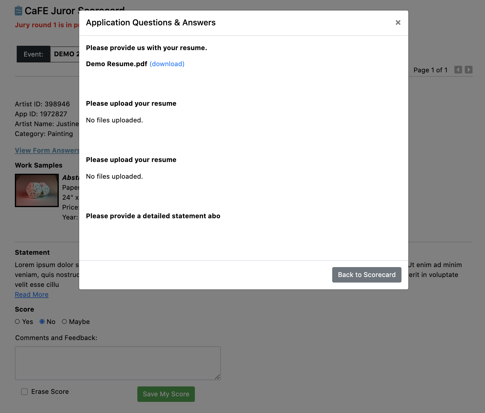 Screenshot of the applicant custom question modal on top of the projection scorecard.