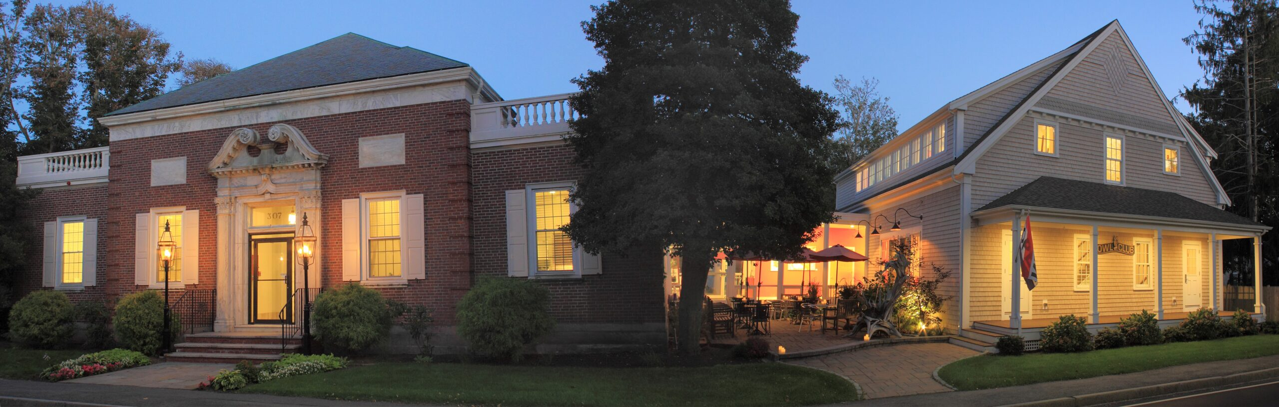 Exterior of the cultural center of cape code at night.