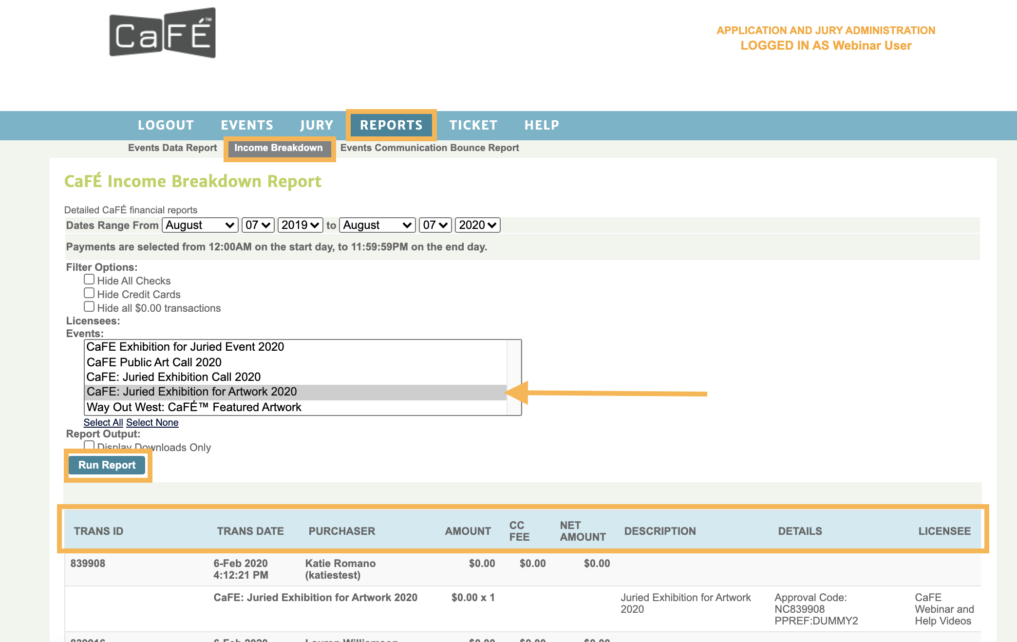 Screenshot of the Income Breakdown report highlighting the various payment details