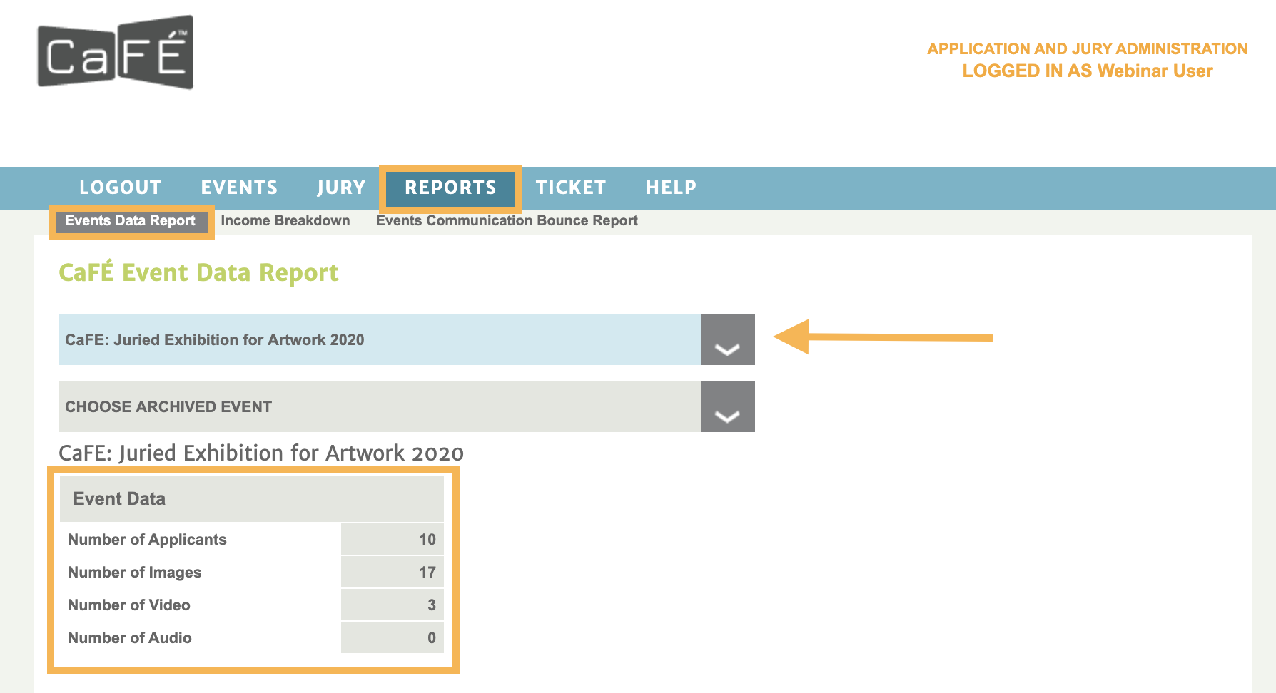Screenshot fo the Events Data Report that shows the number of applications, images, audio and video collected per call.