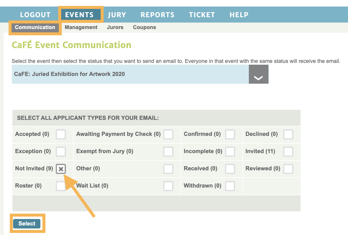 Screenshot of the communication table where you can see all the statuses and can select to begin the email.