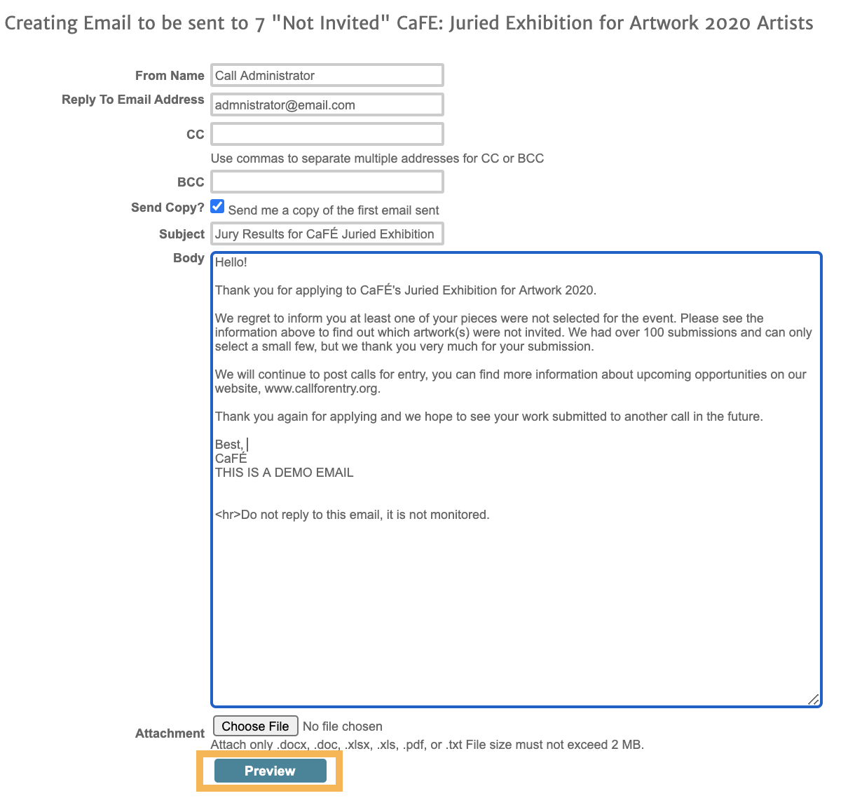Screenshot fo the email form where users can type their emails in. Similar to a normal email form.