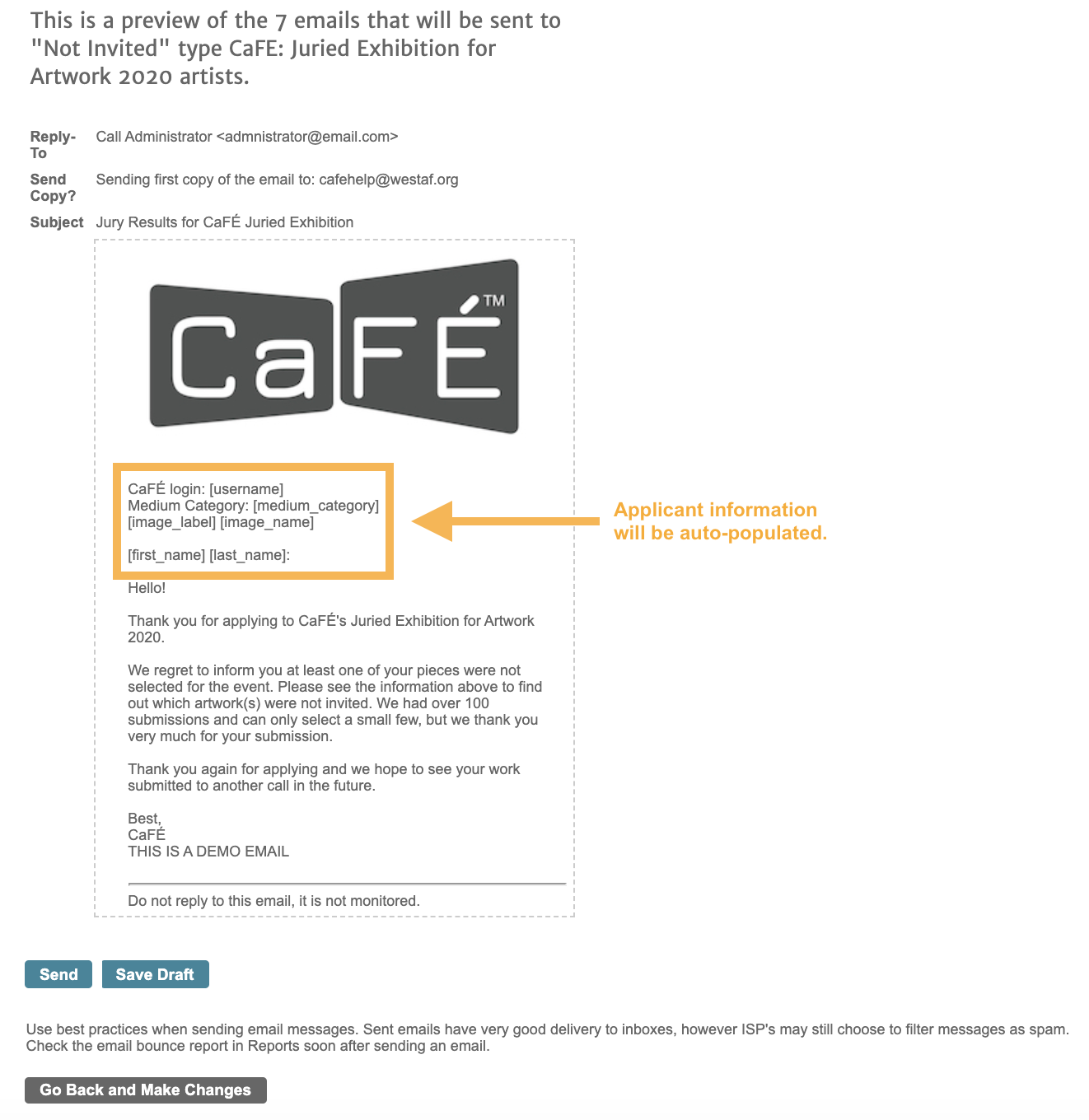 Screenshot of the email preview with a box around the auto-populated information.