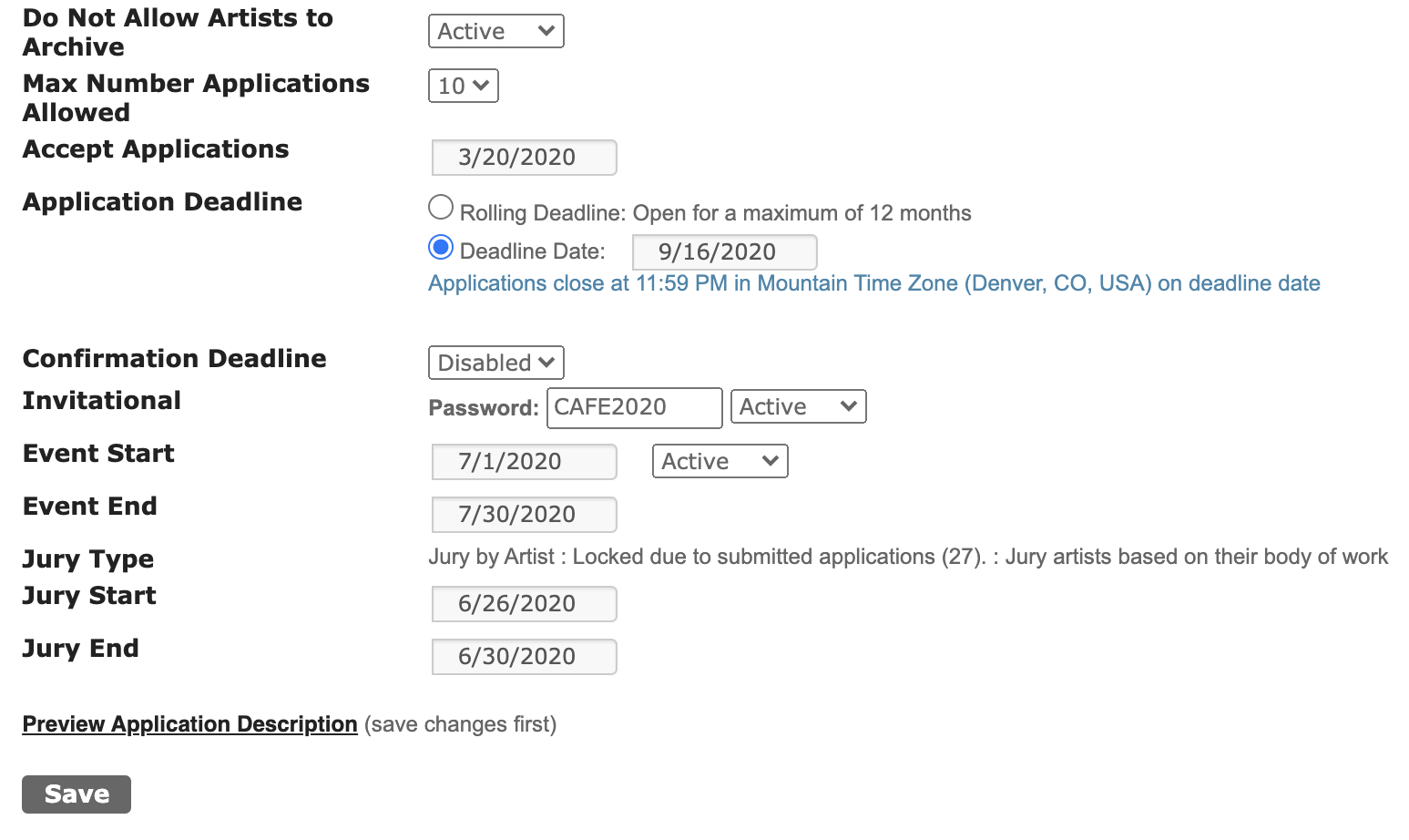 Screenshot of the final section of the Event Information that highlights the key dates to set for the call and additional settings.