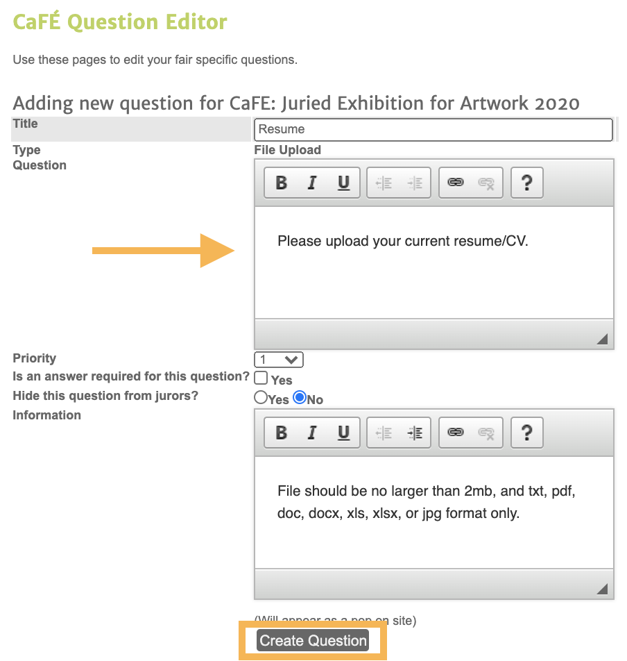 Screenshot of the question editor where you can type in your question.